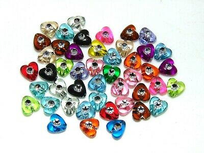 100 Pcs 8mm Acrylic Heart Spacer Beads Mix Colour Jewellery Craft UK G167