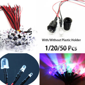 5mm 12V Diffused LED Diode Pre-Wired 20cm Cable Emitting Light Clear HOLDER
