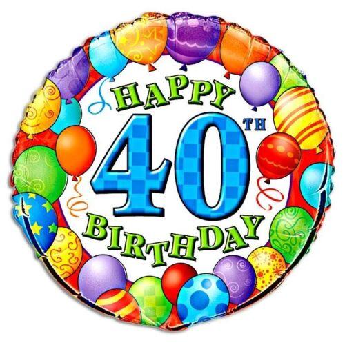 40 Geburtstag im Ballon-Design rund Heliumballon zum Folienballon f