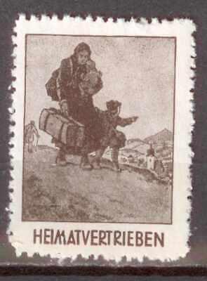 Vignette: Heimatvertrieben ( Vertriebene Frau mit Gepäck