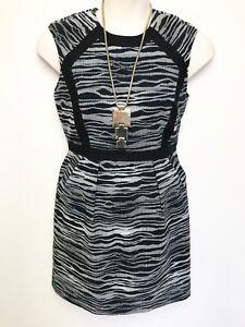 MARCS-black-white-woven-check-pattern-dress-sz-12-sleeveless-has-pockets