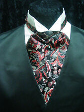 Ascot tie cravat old west wedding style adjustable mens black and red paisley