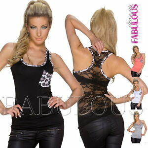 New-Sexy-Sleeveless-Lace-Top-Singlet-Shirt-Casual-Party-Soft-Size-6-8-10-XS-S-M