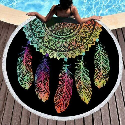 "Dream Catcher 72/"" Inches Big Roundies With Fringe Beach Towel Textile Rug Multi"