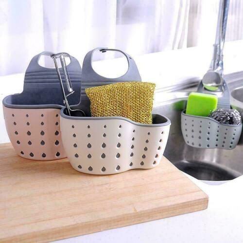 Kitchen Sink Shelf Soap Sponge Drain Rack Bathroom Storage Holder 3 Hanging G3W1