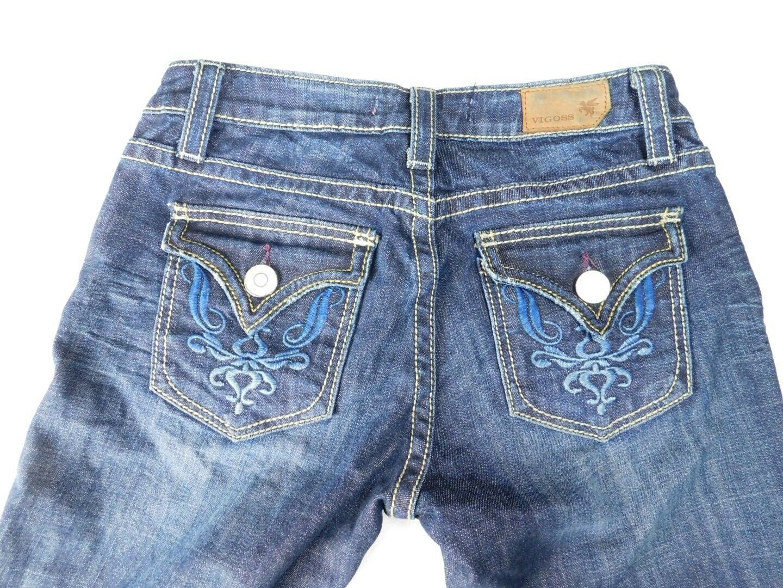 Vigoss Women's Jeans Size 1 Sand Blasted  Distressed Boot Cut Dark Wash