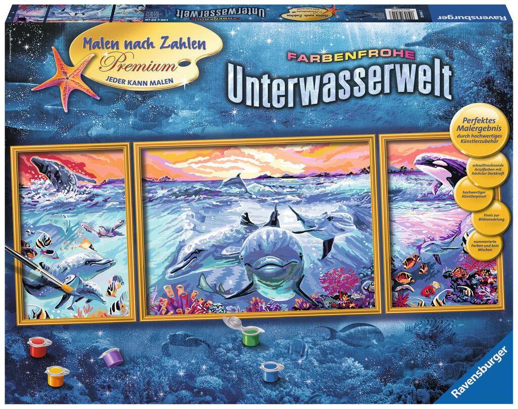 Ravensburger Malen nach Zahlen Premium Serie A Farbenfrohe Unterwasserwelt 28954  | Hochwertige Materialien