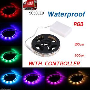 LED-Stripe-Lichterband-Lichterkette-Leucht-Streifen-Leiste-Beleuchtung-Batterie