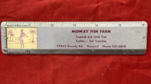 "Vintage 6"" Midway Fish Farm Promotional Lenticular Hawaiian Hula Dancer Ruler"