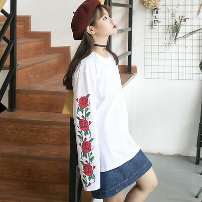 Harajuku Rose Printed White Long Sleeve Round Collar T-shirt Pullover Unisex New
