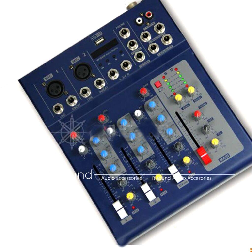Nuevo Mini 4 Canales Canales Canales Sonido Calidad F4 Audio Mezclador directo Pantalla USB con paquete de alambre  diseñador en linea