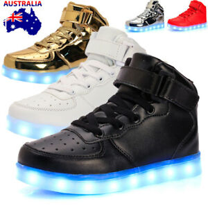 AU 7 Color Kids Men's Womens LED Light Up Sneakers High Top Lace Up Casual Shoes