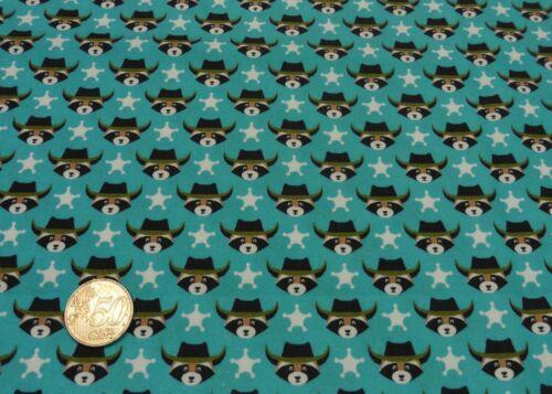 Wild West Cowboy Hilco Sombre Bleu Sarcelle Coton Popeline Tissé Enfants Tissu