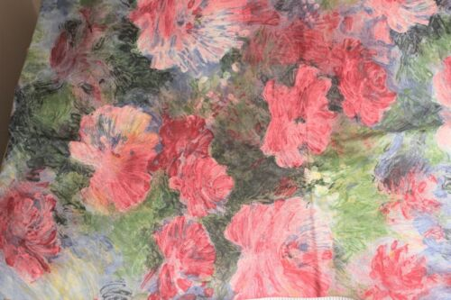 Drapery Upholstery Quilt Fabric IMPRESSIONIST FLORAL Monet Like Cotton SATEEN