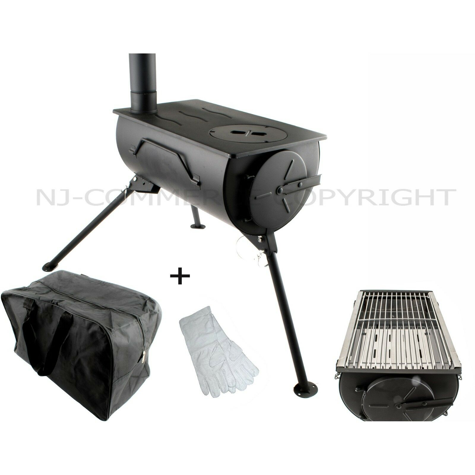Portable Wood Stove GRILL Camping BBQ Cooker with Carry Bag &Accessories COMFORT