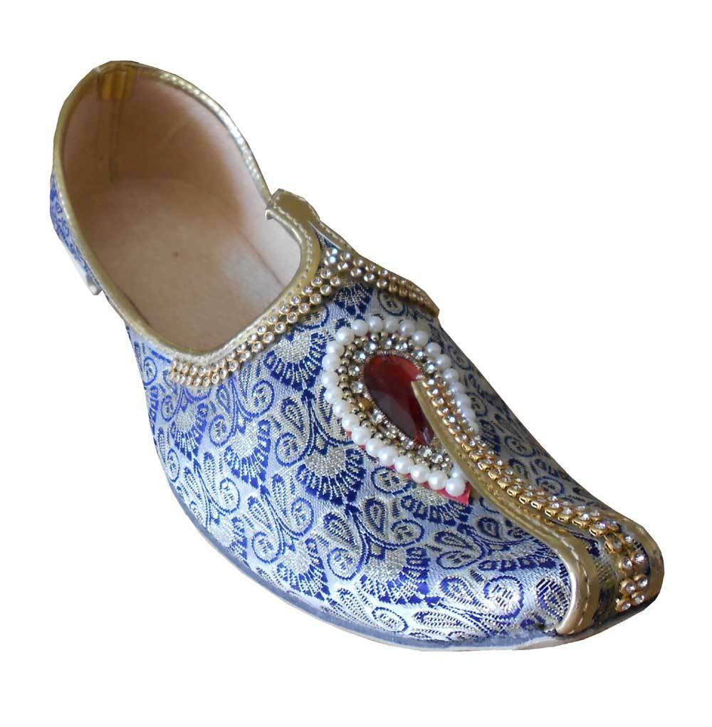 Men shoes Indian Handmade Jutti Khussa Wedding Loafers Sky bluee Mojari US 6-12