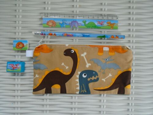 DINOSAUR BACK TO SCHOOL SENT PENCIL CASE /& STATIONERY GIFT UNIQUE DOUBLE SIDED