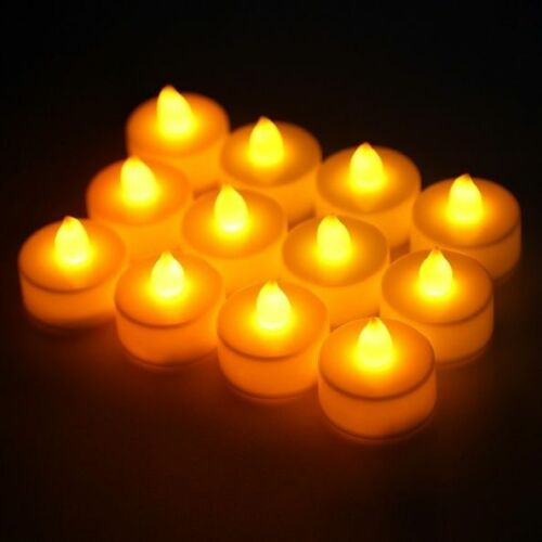 12pc Flameless Tea Lights LED Candles Battery Power for Wedding Party Decor
