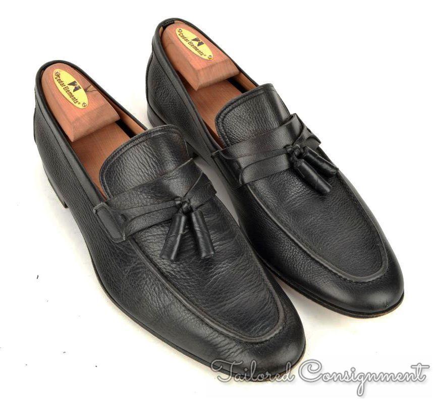 MAGNANNI Solid Black Leather Moc Toe Tassel Loafer Dress shoes - 8 M
