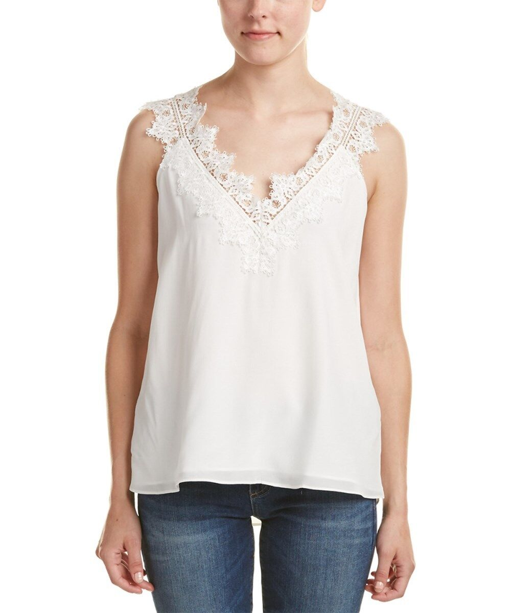 CAMI NYC 'Chloe' Weiß Lace Silk Sleeveless Top Camisole Lined Sz L SOLD OUT