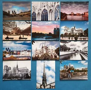 Set-of-12-New-Glossy-Postcards-NOTRE-DAME-Cathedral-Church-Paris-France-71O