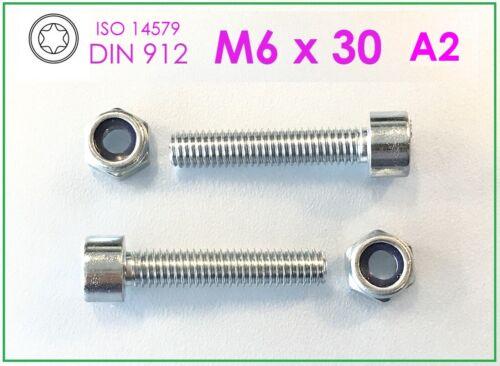 Mutter M6 A2  Innen Torx 5 Stück Zylinderschraube M6x30 Edelstahl A2