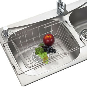 Stainless-Steel-Adjustable-In-Sink-Dish-Bowl-Drainer-Drying-Basket-Kitchen-Rack