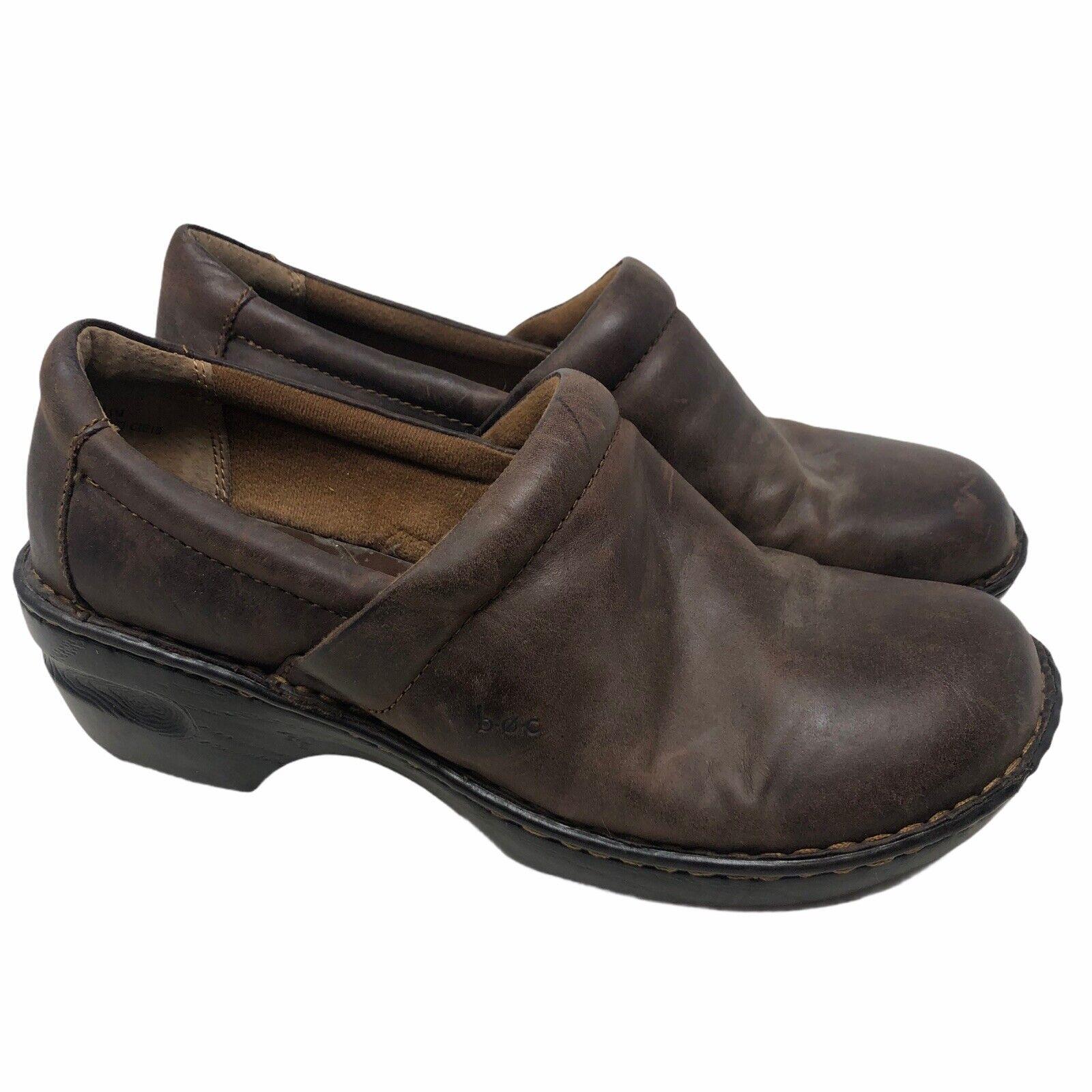 BOC Born Concepts Women's Brown Leather Slip On Clogs Mule Shoes US Size 11