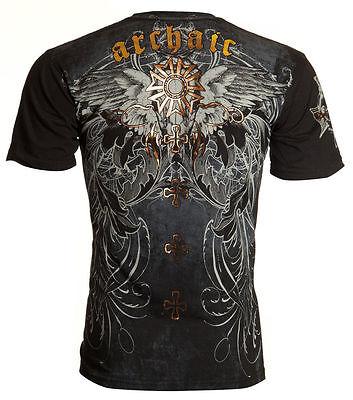 Archaic AFFLICTION Mens T-Shirt BLISTER Wings Skull Tattoo Biker UFC M-4XL $40