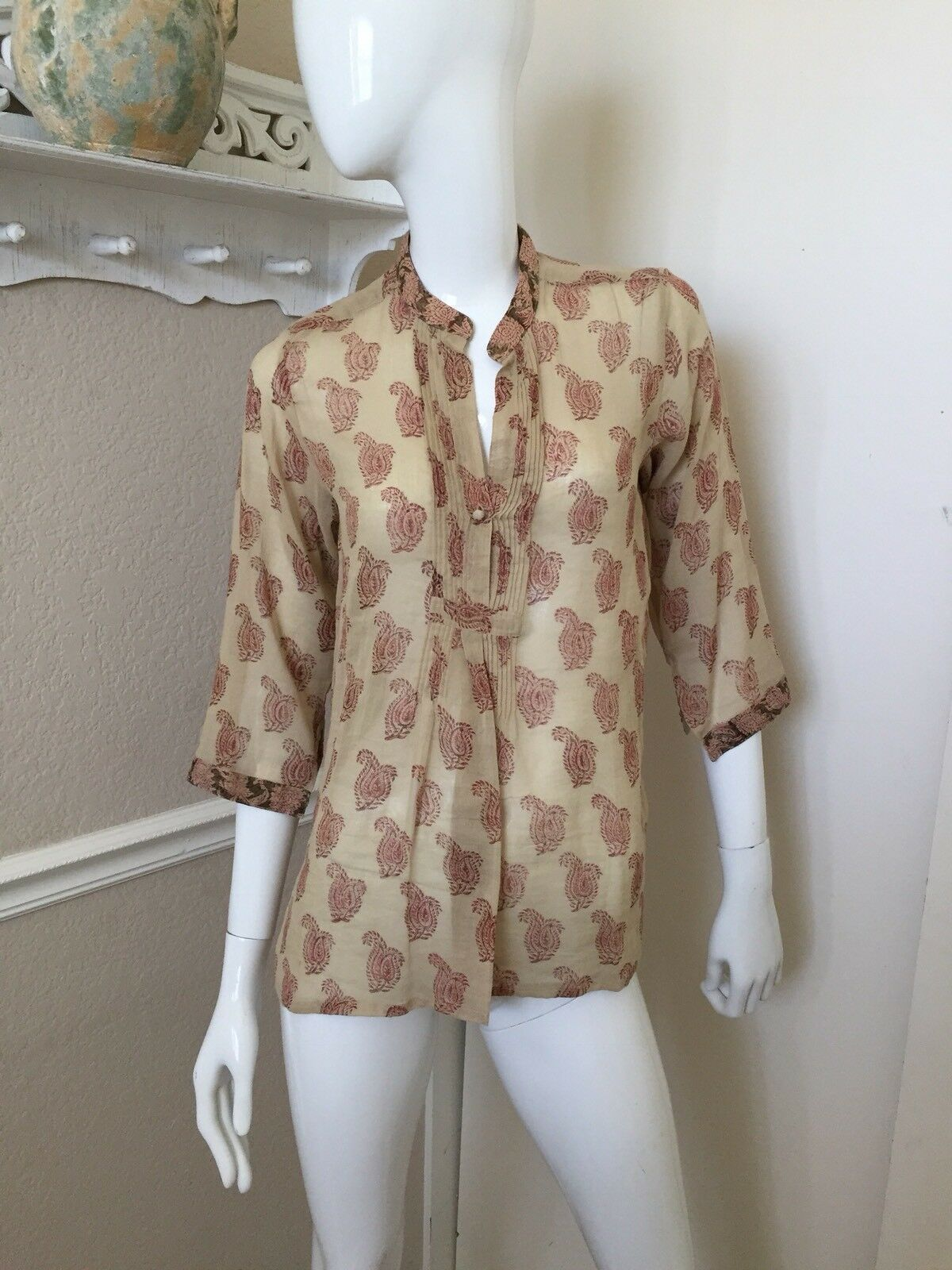 Anokhi NEW  100% Cotton Beige Rust Paisley Pattern Tunic Shirt Sz S NWOT