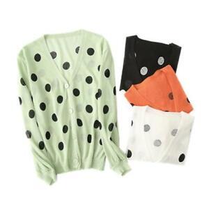 Womens-Girls-Japan-Style-V-Neck-Retro-Polka-Dot-Thin-Cardigan-Sweaters-Top-SKGB
