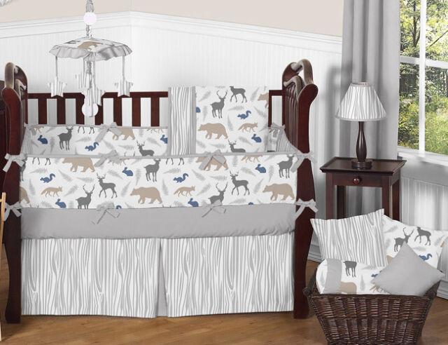 Sweet Jojo Designs Grey Deer Animal Outdoor Woodland Baby Boy Crib Bedding Set