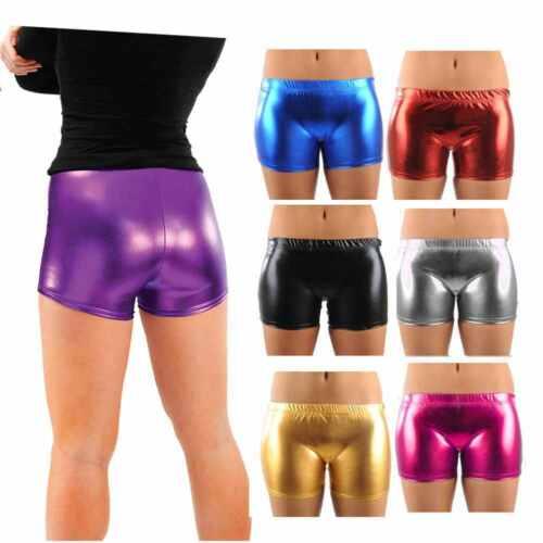 Ladies PVC PU Shiny Metallic Hot Pants Women Disco Gym Dance Wet Look Mini Short