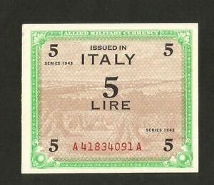 PréCis [nc] Italia - 5 Lire - Allied Military Currency 1943 (monolingue)
