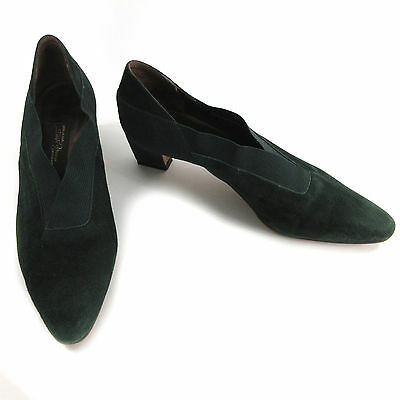 Sesto Meucci 8 N Heels Narrow Green Suede Pumps Pointed Toe Slip On Shoes Italy