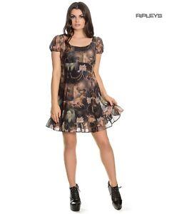 Hell-Bunny-Goth-Punk-Black-Mini-Dress-RENAISSANCE-Donnatella-Painting