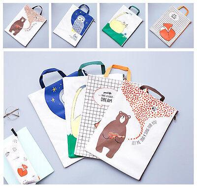 """Forest Friends"" 1pc Canvas File Folder Big Pocket Zip Document Papers Cute Bag"