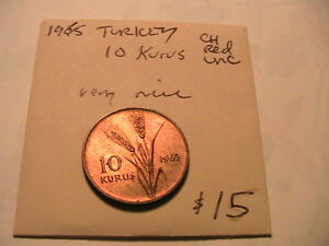 1965-TURKEY-10-Kurus-CH-Red-BU-Copper-World-Coin