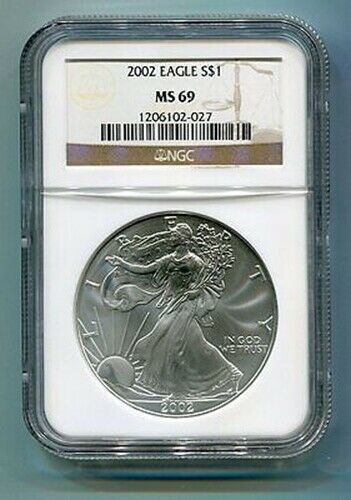 2002 AMERICAN SILVER EAGLE NGC MS69 BROWN LABEL PREMIUM QUALITY NICE COIN PQ