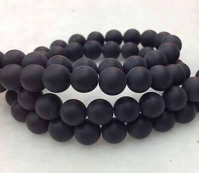 Natural Onyx Gemstone Round Beads 15.5'' Strand 6 8 10 12MM Matte Black