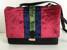 Vintage Roberta Di Camerino Logos Shoulder Bag Red Velvet Italy Purse