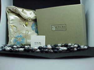 QVC-Honora-Peacock-Black-White-Gray-Pearl-Necklace-36-034-Tuxedo-Collection-New-box