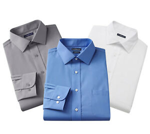 New-Croft-amp-Barrow-Men-s-Fitted-Slim-Fit-Spread-Collar-Dress-Shirt-Size-17-32
