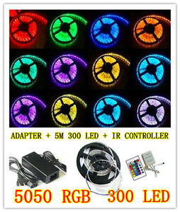 5050-RGB-5M-300-LED-SMD-12V-LED-Strip-Light-Waterproof-IR-Controller-Adapter