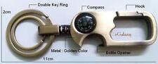 Key Chain - Premium Quality Golden - Double Rings, Bottle Opener, Compass, Hook