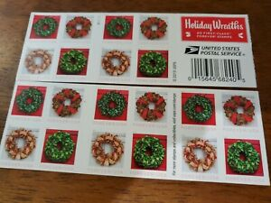 Holiday Wreaths Christmas USPS Forever Stamp, 20 Stamps total