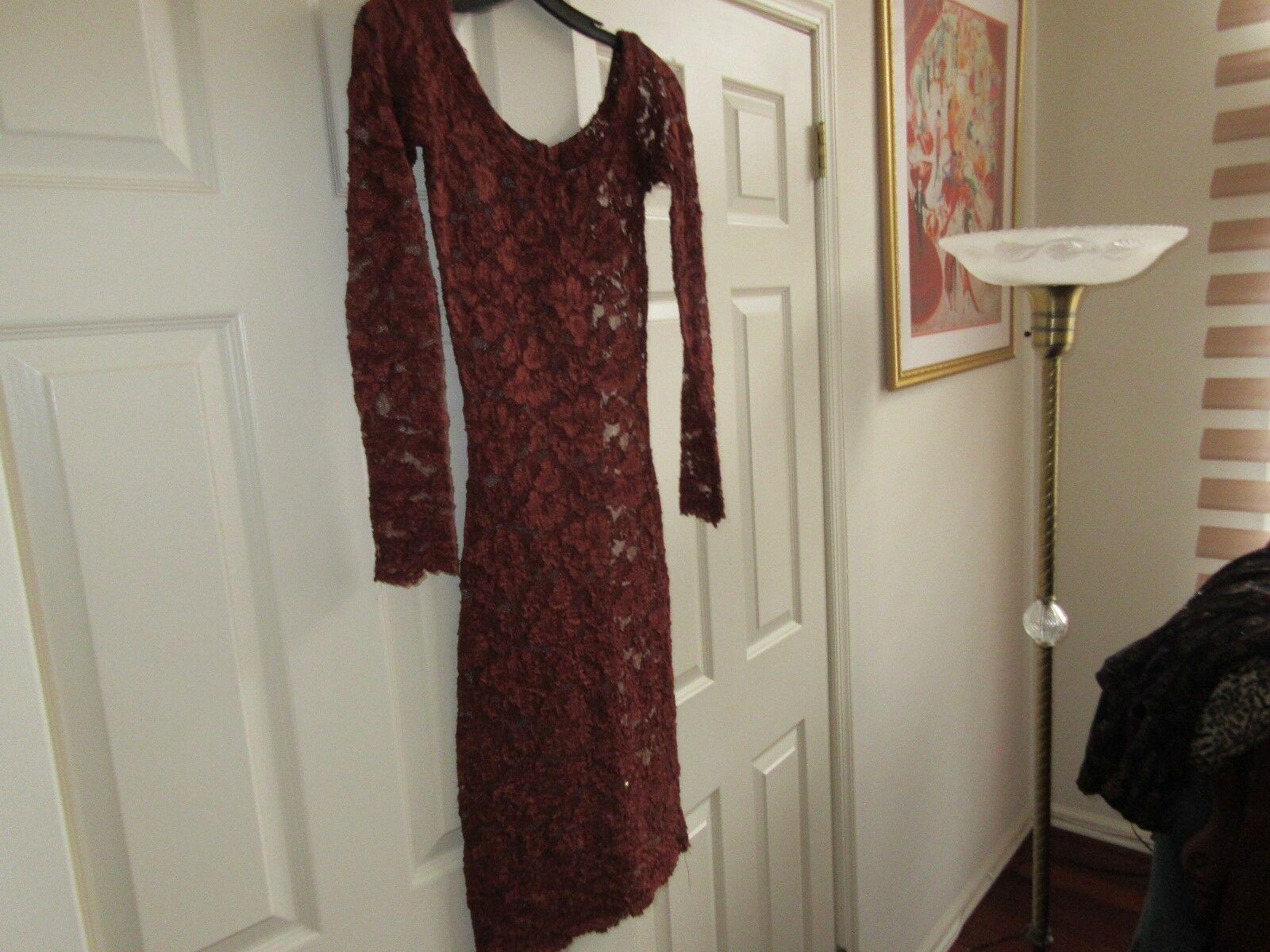 Ladies Designer Vintage Red Dress W/ Red Rose Design Fl