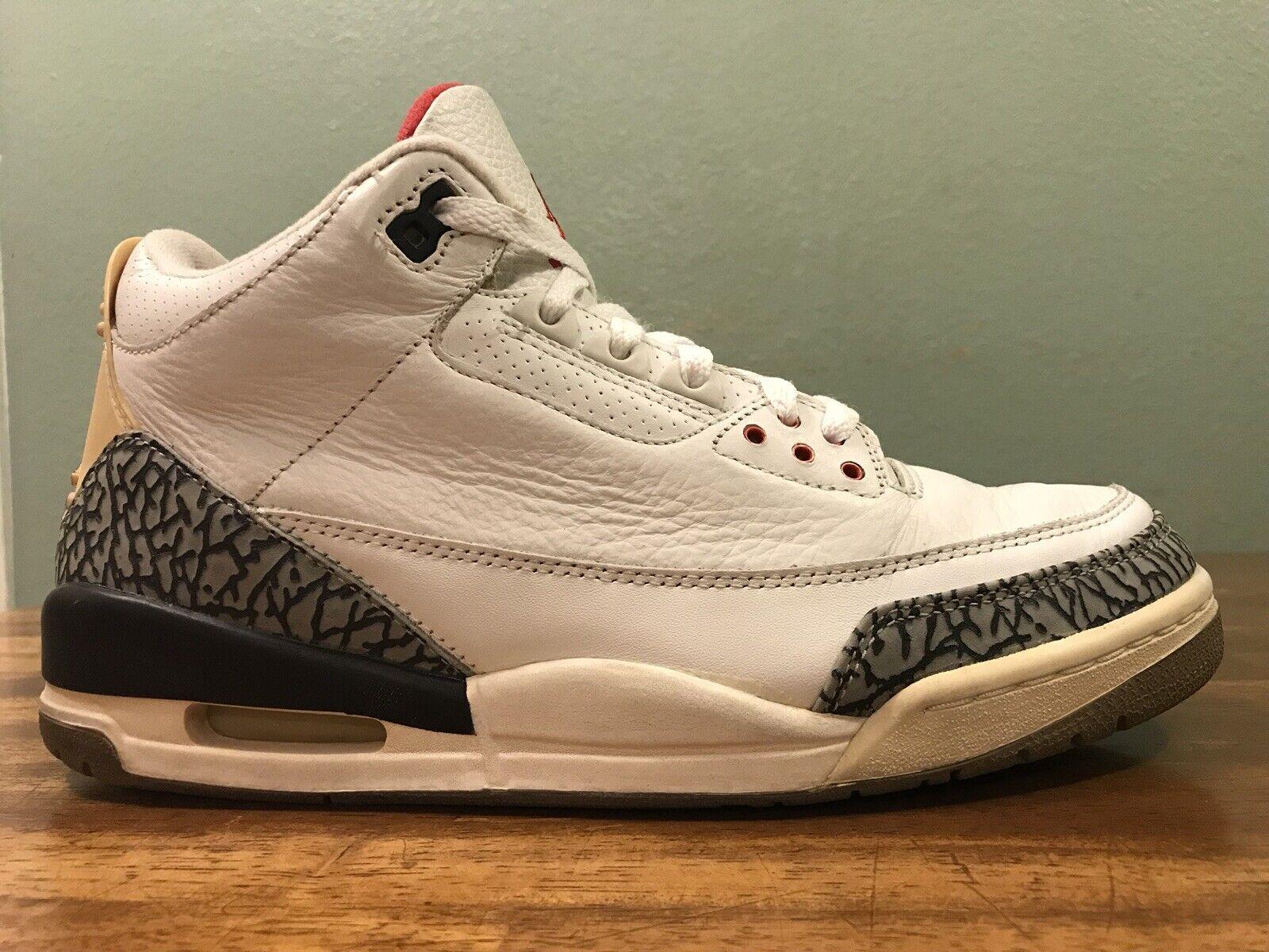 2003 Nike Air Jordan III 3 Retro White Cement Grey Fire Red Black Men's Size 9.5