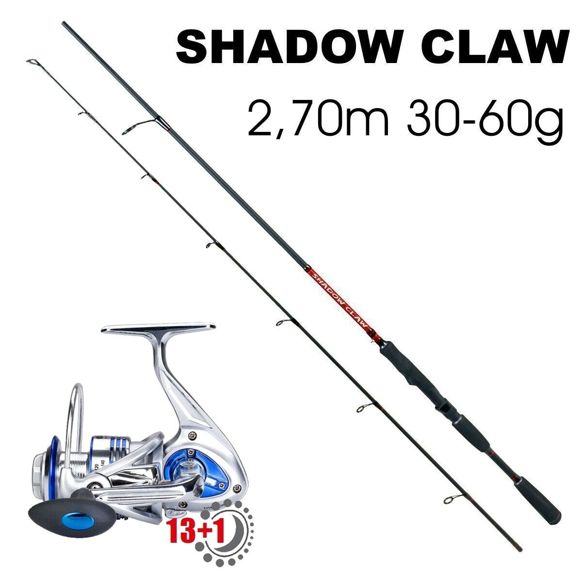 Spin set Shadow Claw 18 2,70m Zander Hecht + 3000er papel de metal