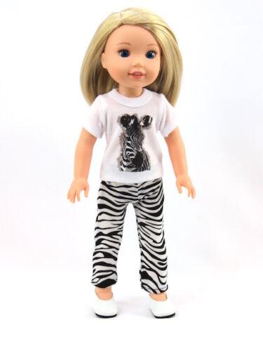 "Zebra Print Pant Set Fits Wellie Wishers 14.5/"" American Girl Clothes"